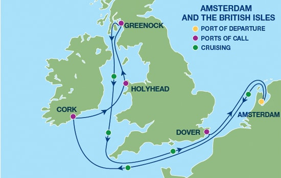 Amsterdam - British Isles Sailing Itinerary Map
